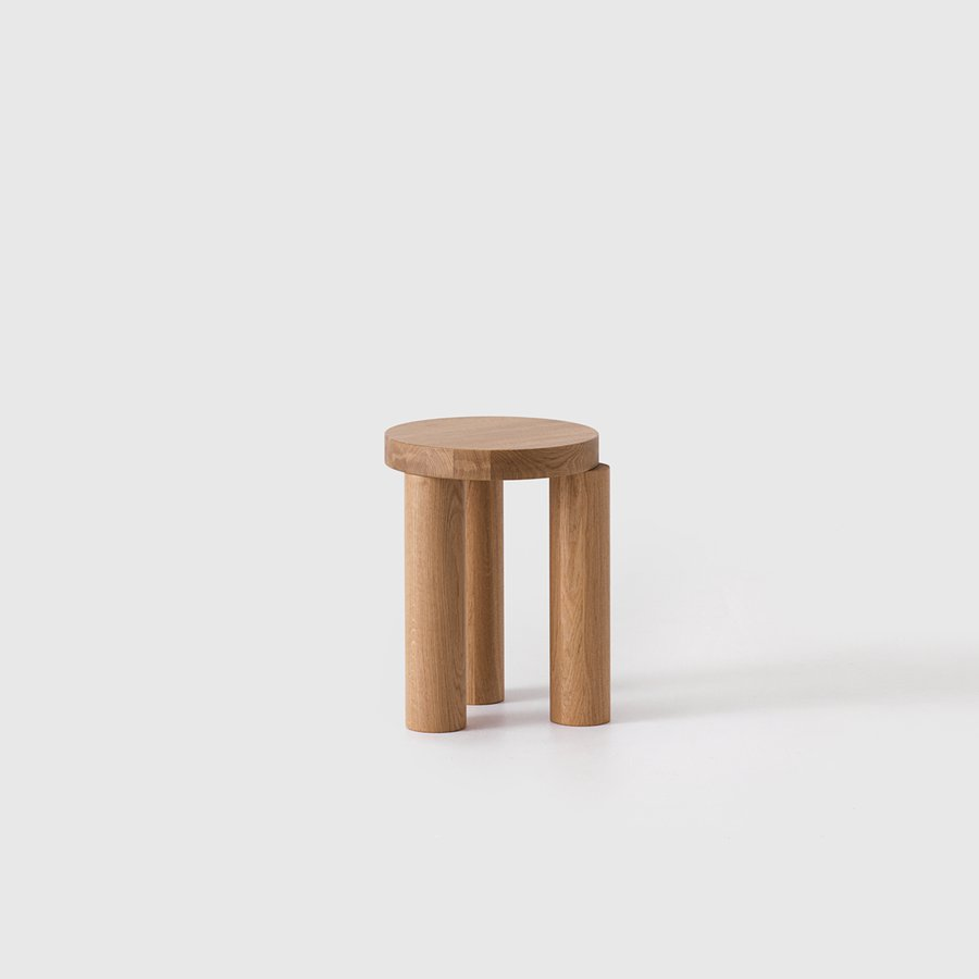 Offset Stool / Sidetable (Natural Oak)