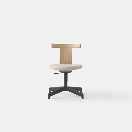 Jiro Swivel Chair - Upholstered (Nat Oak Blk Base)
