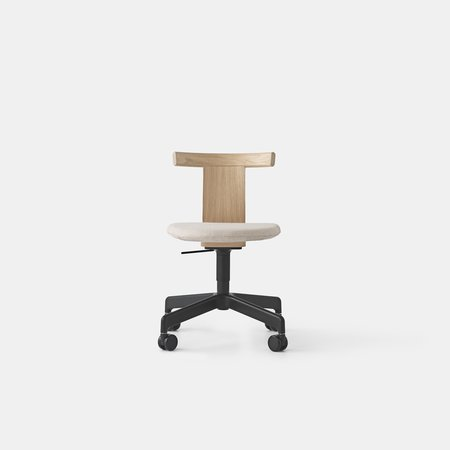 Jiro Swivel Chair - Upholstered (Nat Oak Blk Base Casters)